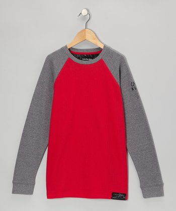 Rosy Red & Gray Raglan Thermal - Toddler & Boys
