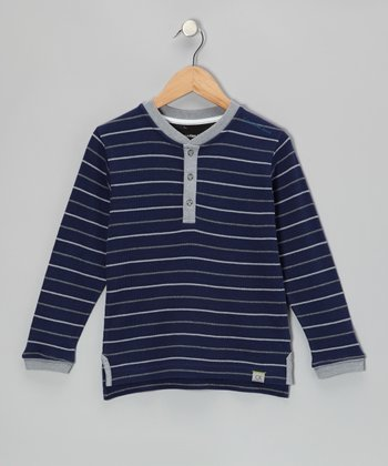 Retro Navy Stripe Henley - Infant, Toddler & Boys