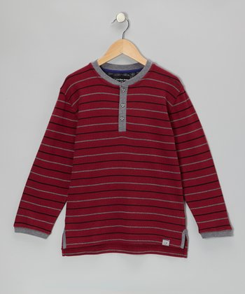 Dark Cherry Stripe Henley - Infant, Toddler & Boys