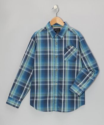 Service Blue Plaid Button-Up - Toddler