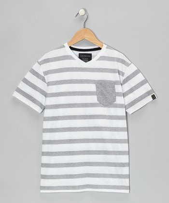 White Stripe V-Neck Tee - Infant & Boys