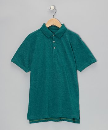 Heather Green Jewel Polo - Boys