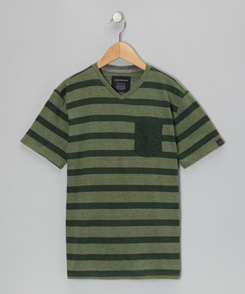 Hunter Green Stripe V-Neck Tee - Boys