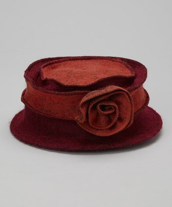 Orange & Fuchsia Marbled Rosette Wool Bucket Hat