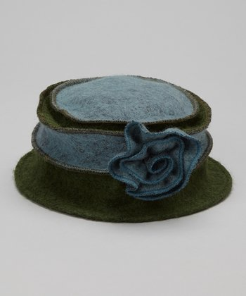Blue & Olive Marbled Rosette Wool Bucket Hat