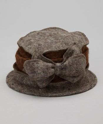Gray & Brown Wool Bucket Hat