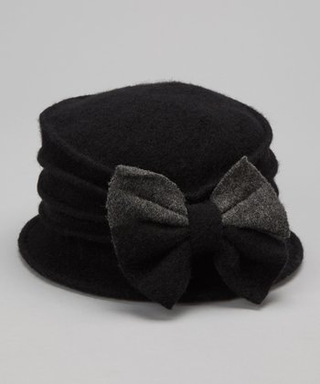 Black Two-Tone Bow Wool Bucket Hat