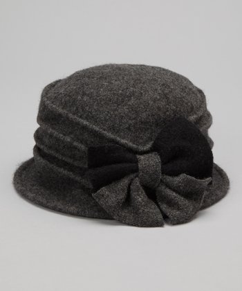 Gray Two-Tone Bow Wool Bucket Hat