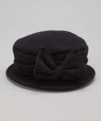 Black Bow Wool Bucket Hat