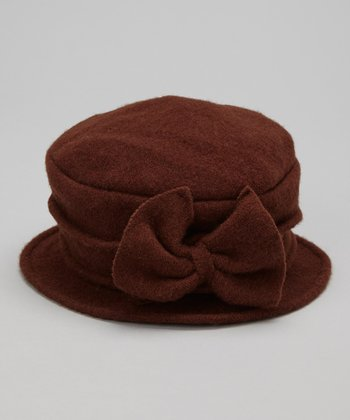 Brown Bow Wool Bucket Hat