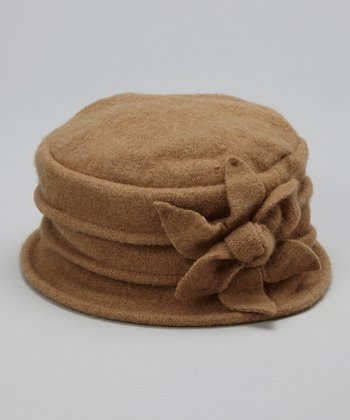 Beige Layered Magnolia Wool Bucket Hat