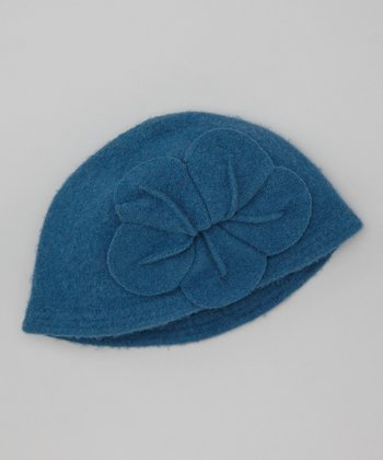 Blue Flower Wool Beanie