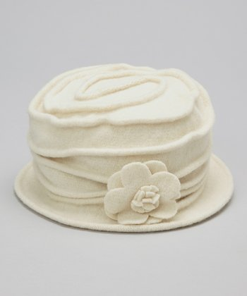 Ivory Blossom Wool Bucket Hat