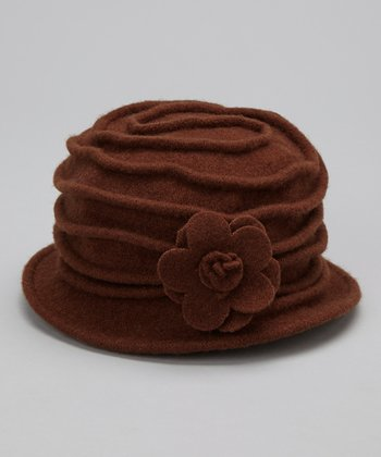Brown Blossom Wool Bucket Hat