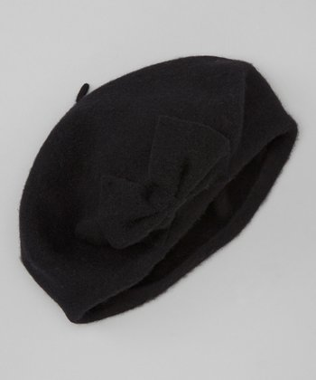 Black Bow Wool Beret