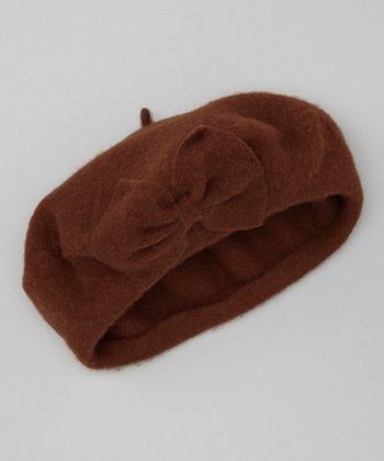 Brown Bow Wool Beret