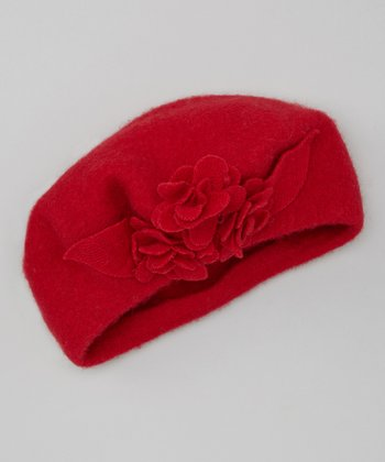Red Triple Flower Wool Beret