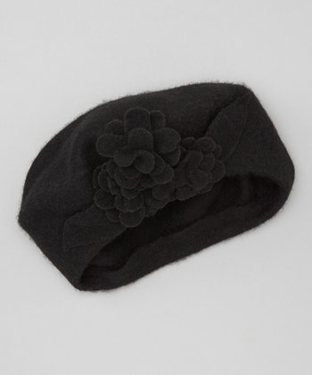 Black Triple Flower Wool Beret