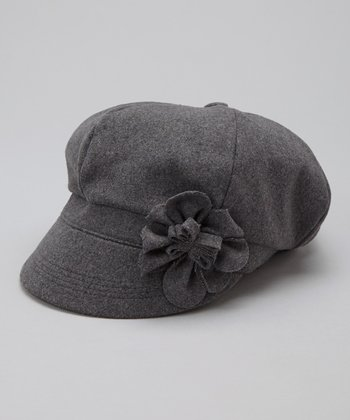 Gray Flower Newsboy Cap
