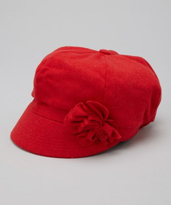 Red Flower Newsboy Cap
