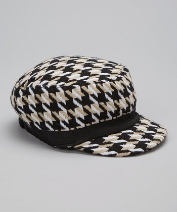 Beige Houndstooth Wool-Blend Newsboy Cap