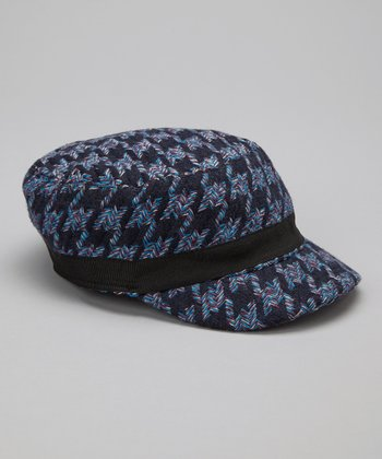Blue Houndstooth Wool-Blend Newsboy Cap