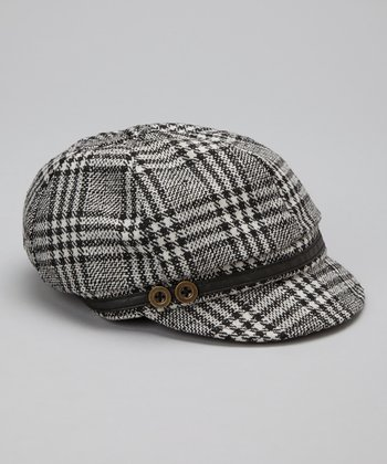 Black Plaid Wool-Blend Newsboy Cap