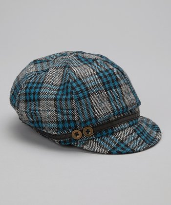 Blue Plaid Wool-Blend Newsboy Cap