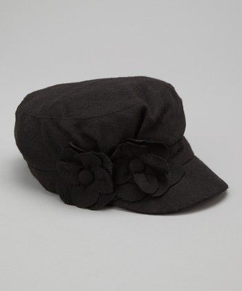 Black Floral Wool-Blend Cadet Hat