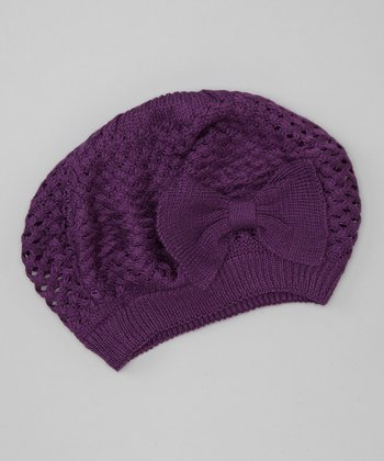 Purple Knit Bow Beret