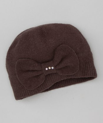 Brown Bow Wool Beanie