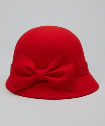 Red Big Bow Wool Cloche