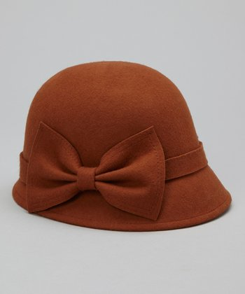 Brown Big Bow Wool Cloche