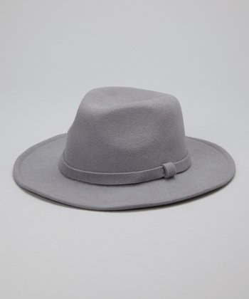 Gray Wide-Brim Wool Fedora