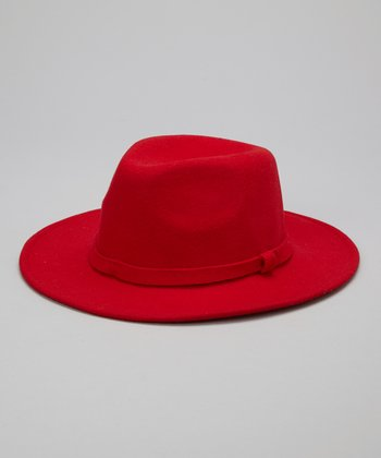 Red Wide-Brim Wool Fedora