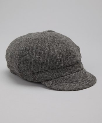 Gray Knit Wool-Blend Newsboy Cap