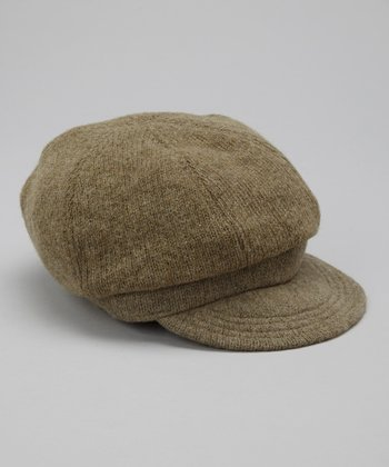 Olive Knit Wool-Blend Newsboy Cap