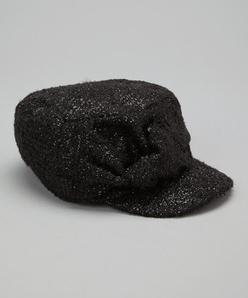 Black Sparkly Bow Cadet Hat