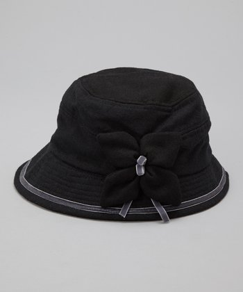 Black Flower Wool Bucket Hat