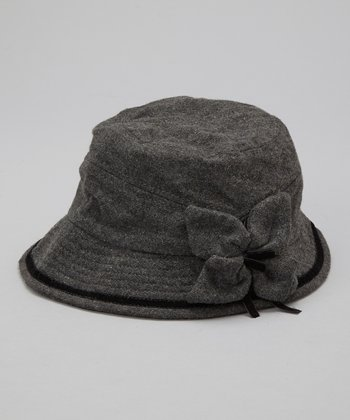 Gray Flower Wool Bucket Hat