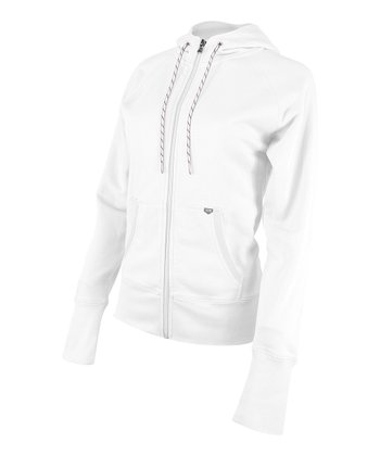 White Zip-Up Hoodie - Women
