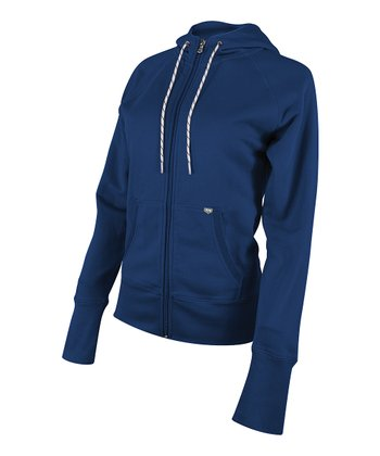 Navy Zip-Up Hoodie - Women
