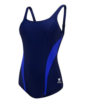 Navy & Blue Splice Control Fit Scoop Neck One-Piece
