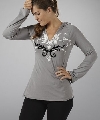 Silver & Black Flocked Hooded Top