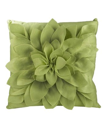 Green Petals Square Throw Pillow