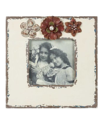 Ivory Flower Antiqued Frame