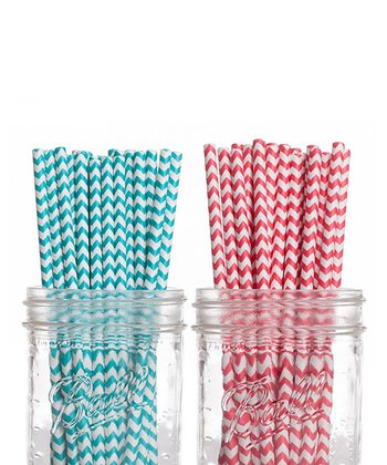 Aqua & Red Straw Set
