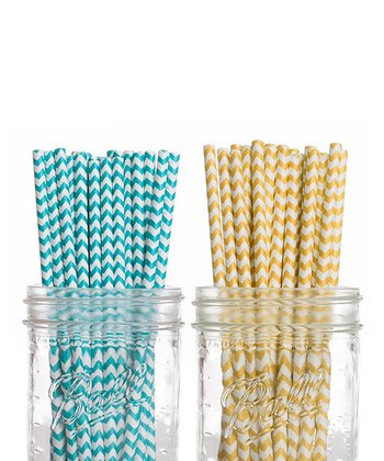 Aqua & Yellow Straw Set