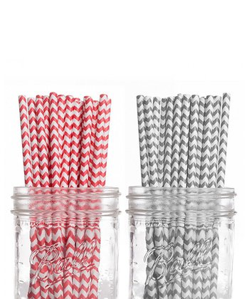 Red & Grey Straw Set