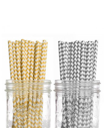 Yellow & Grey Straw Set